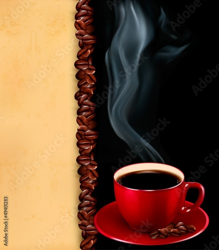 Background with cup of coffee and old paper.Vector.