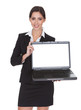 Smiling Businesswoman Holding Laptop