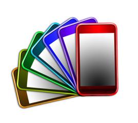Téléphones portables multicolores