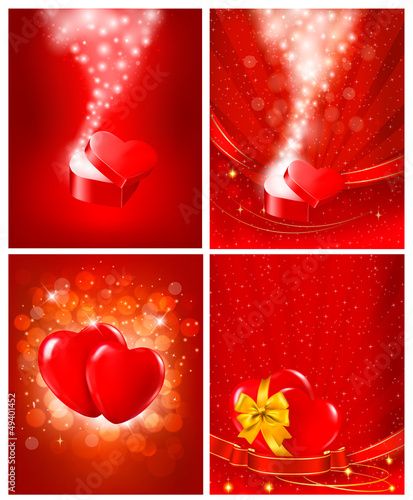 Set of Valentine`s day backgrounds. Vector illustration.