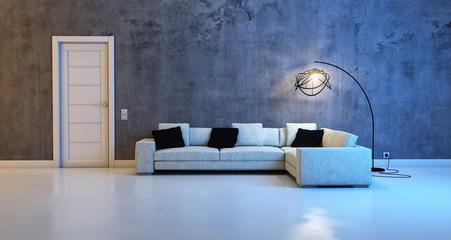 sofa against a concrete wall