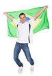 Portrait Of A Happy Man Holding An Brazilian Flag