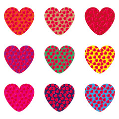 Nine hearts on a postcard to Valentine's Day