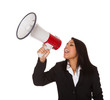 Businesswoman Shouting On Megaphone