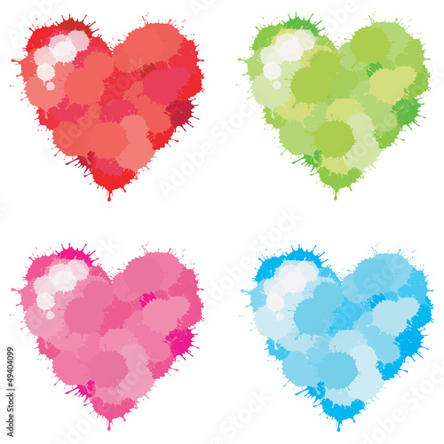 Color Splatter Heart set