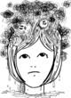 Woman head full of nightmares