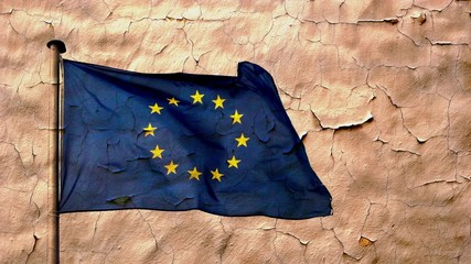 EU flag and old wall texture