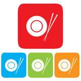 Dish and Chopsticks icon, restaurant sign