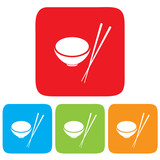 Bowl and Chopsticks icon, restaurant sign