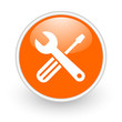tools orange circle glossy web icon on white background