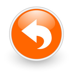 back orange circle glossy web icon on white background