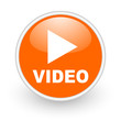 video orange circle glossy web icon on white background