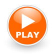 play orange circle glossy web icon on white background