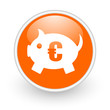 piggy bank orange circle glossy web icon on white background