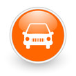 car orange circle glossy web icon on white background