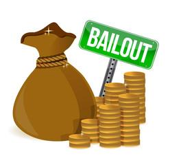 Bailout. Money bag sign