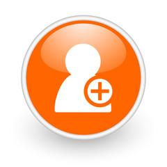 add contact orange circle glossy web icon on white background