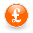 pound orange circle glossy web icon on white background