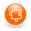 puzzle orange circle glossy web icon on white background