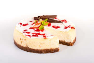 Cheesecake with fresh strawberries tasty dessert