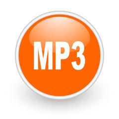 mp3 orange circle glossy web icon on white background
