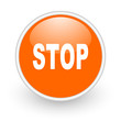 stop orange circle glossy web icon on white background