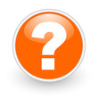 question mark orange circle glossy web icon on white background