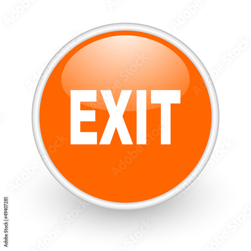 exit orange circle glossy web icon on white background
