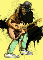 guitarist - a hand drawn funny illustration