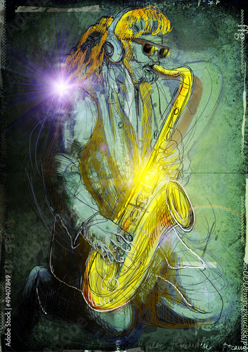 sax player - a hand drawn noir illustration © kuco