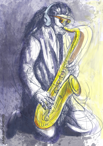 saxophonist - a hand drawn illustration © kuco
