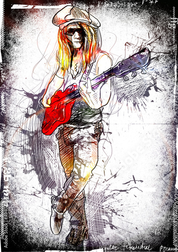 young guitarist - a hand drawn grunge illustration © kuco