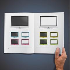 Modern TV printed on white book,
