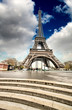 Paris. Gorgeous wideangle view of Eiffel Tower with Stairs to Se