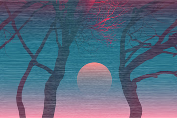 Sunset. Landscape in Japanese style.