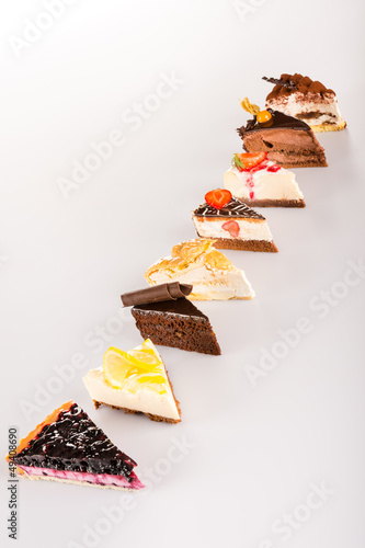 Selection sweet cake slice delicious tart