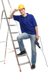 Construction worker with a ladder