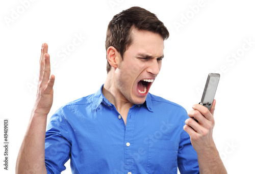Man yelling at his mobile phone