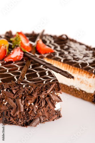 Dark chocolate cake creamy with strawberries