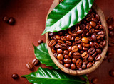 Fototapety Coffee beans. Bowl of Aromatic Coffee close-up