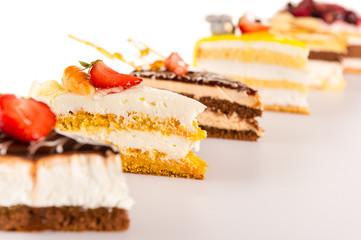 Cake selection close-up of tart slice dessert