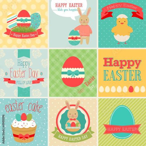 Easter set - greeting cards. Vector illustration.