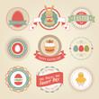 Easter set - labels and emblems. Vector illustration.