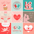 Valentine`s Day set - greeting cards. Vector illustration.