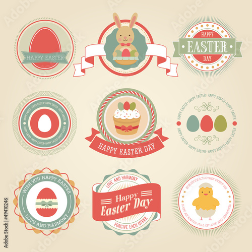 Easter set - labels and emblems. Vector illustration.