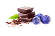 a handful of blueberries and slices of chocolate