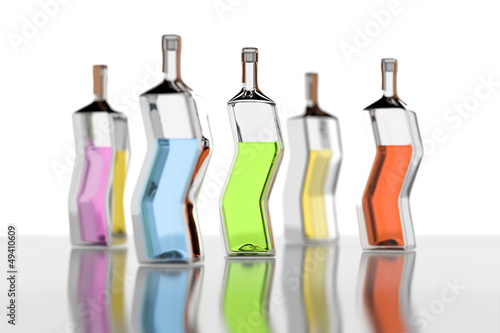 five color bottles