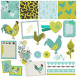 Scrapbook Design Elements - Vintage Rooster and Flowers - vector
