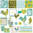Scrapbook Design Elements - Vintage Rooster and Flowers - vector