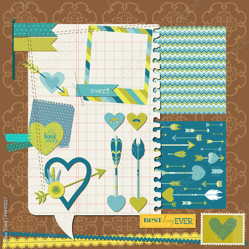 Scrapbook Design Elements - Love, Heart and Arrows - for design